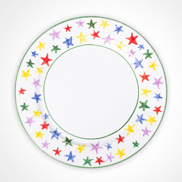 Multicolor stary charger plate product picture.