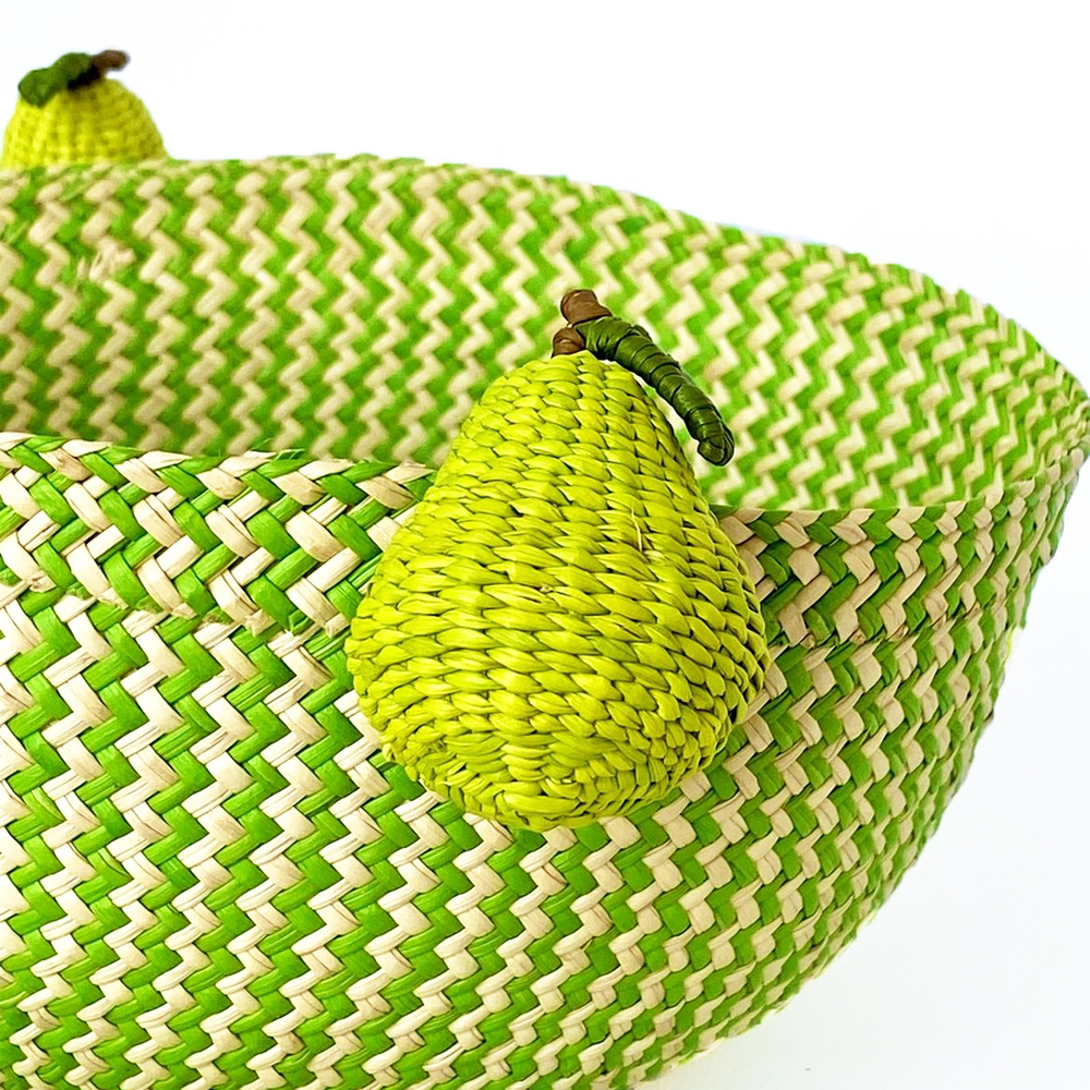 Palm basket with pear handles 2