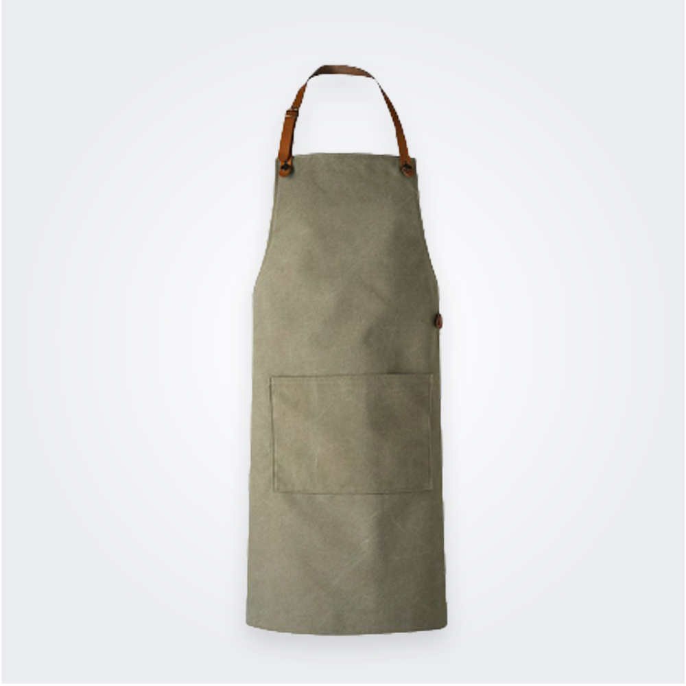 WASHED GREEN LEATHER APRON