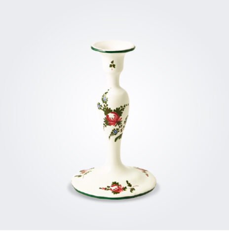 White Italian Pottery Candlestick