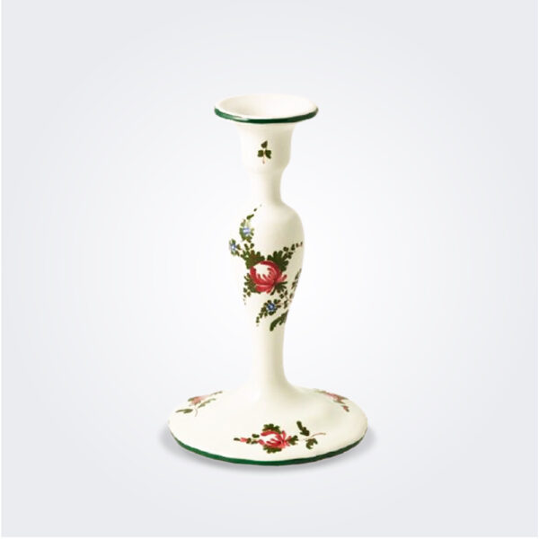 White Italian pottery candlestick product picture.