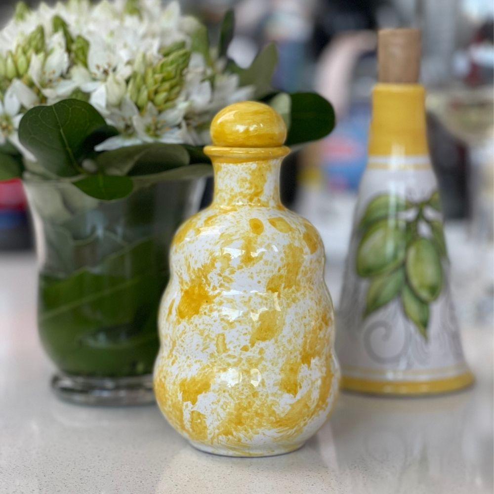 Yellow Ceramic Oil Bottle