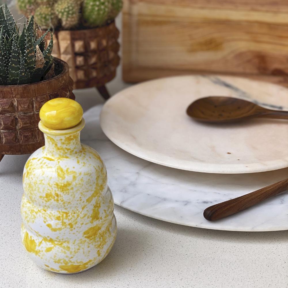 Yellow ceramic oil bottle 1
