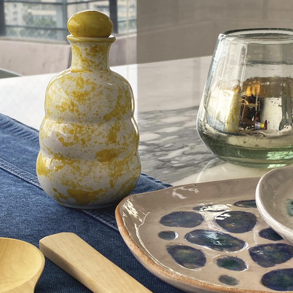 Yellow ceramic oil bottle 2
