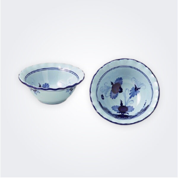 Small blue majolica bowl set product picture.