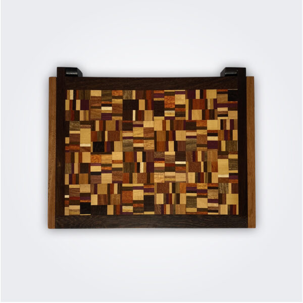 Weaved pattern wooden box product picture flat lay.