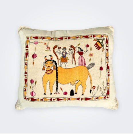 Kamadhenu Hand Stitched Pillow Cover