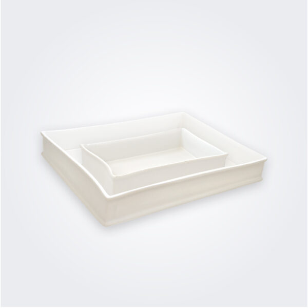 White stoneware baking dish set product picture.