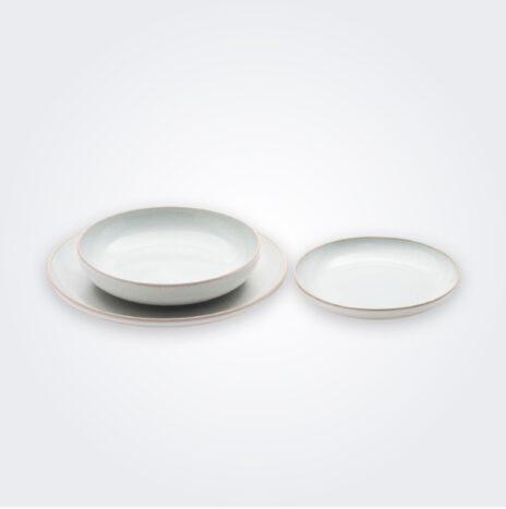 White Stoneware Plate Set