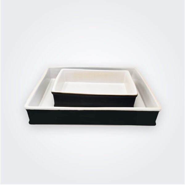 Black stoneware baking dish set product picture.