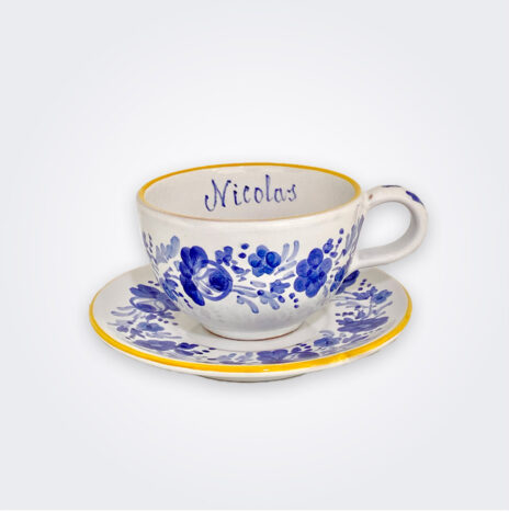 Blue Flowers Personalized Cup and Saucer Set
