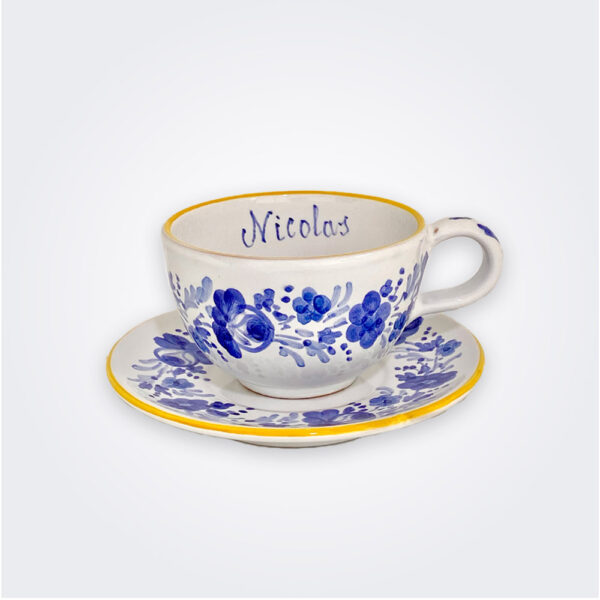 Blue flowers personalized cup and saucer set product picture.