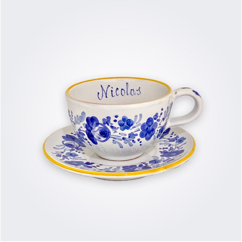 Blue flowers personalized cup and saucer set 1
