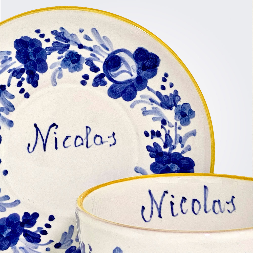 Blue flowers personalized cup and saucer set 2