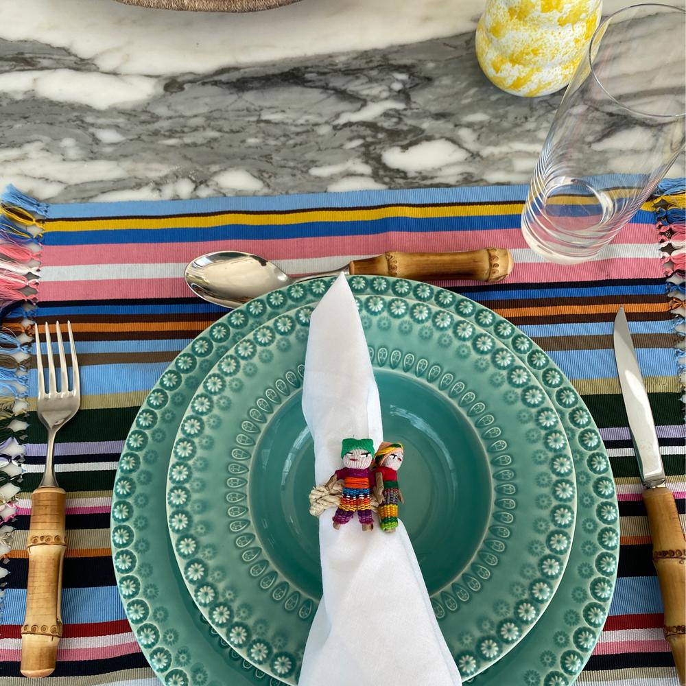 Blue pima cotton placemat set context picture