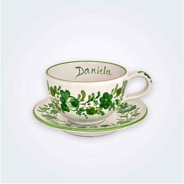 Green flowers personalized cup and saucer set product picture.