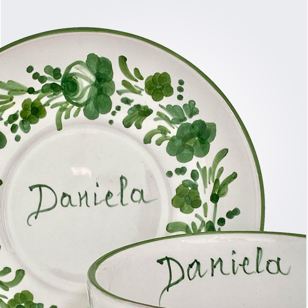 Green flowers personalized cup and saucer set 2