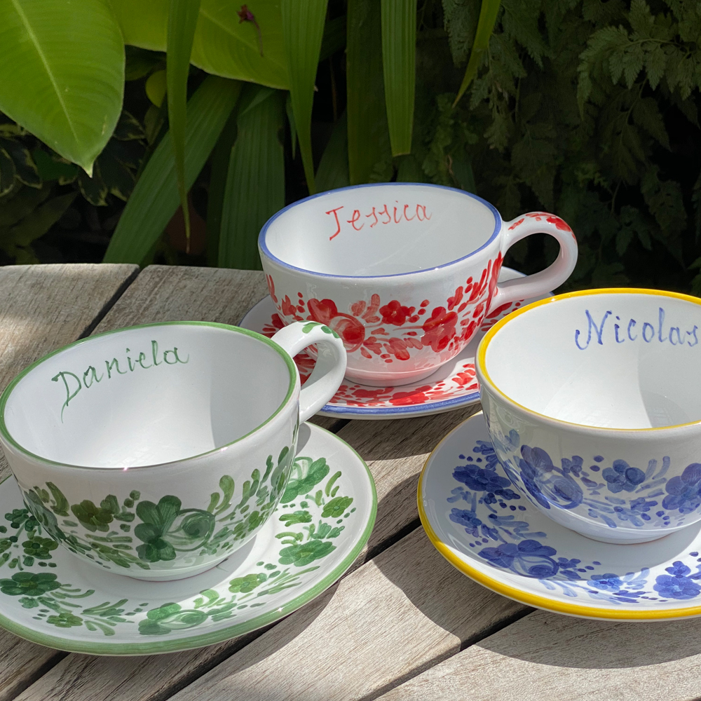 Green flowers personalized cup and saucer set context picture.