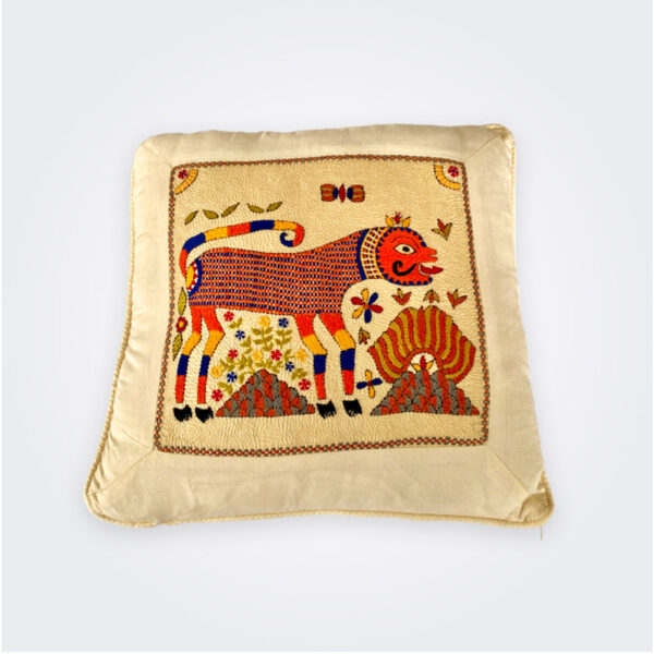 Indian hand embroidered pillow cover product picture.