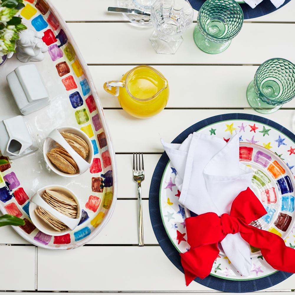 Oval-ceramic-tray-and-multicolor-stary-charger-plate-and-rainbow-colander-and-tray-set