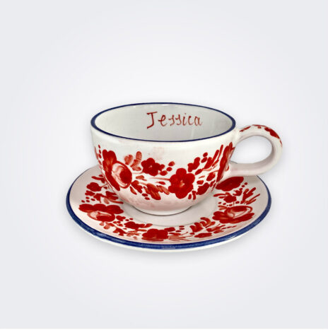 Red Flowers Personalized Cup and Saucer Set