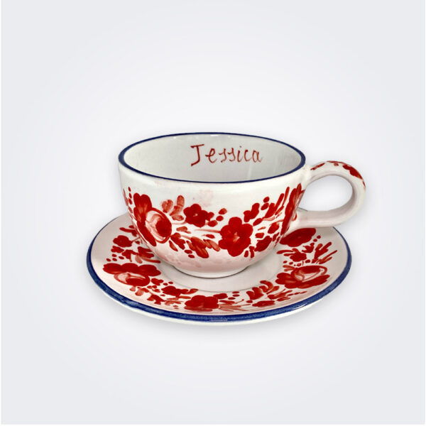 Red flowers personalized cup and saucer set product picture.