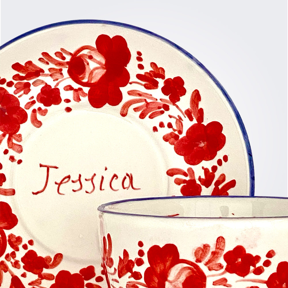 Red flowers personalized cup and saucer set 2