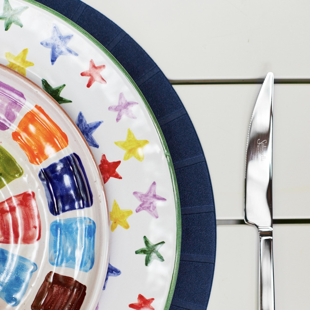 Multicolor-stary-charger-plate-set