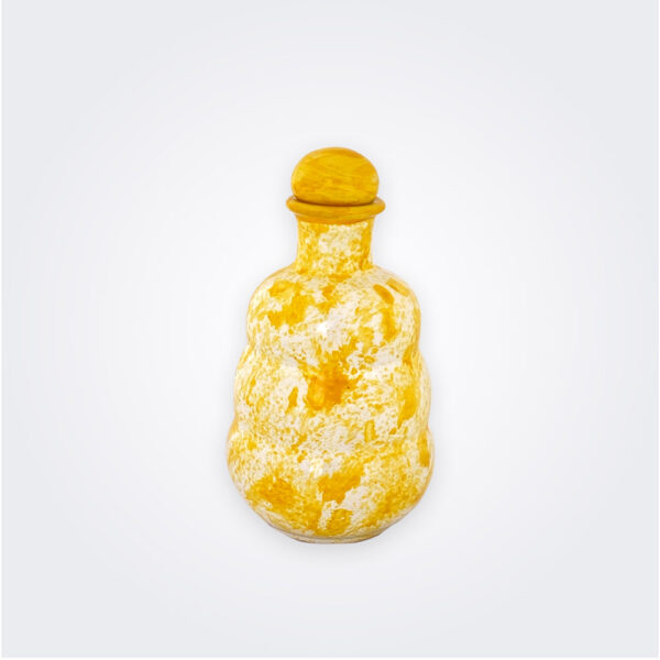 Yellow ceramic oil bottle product picture.