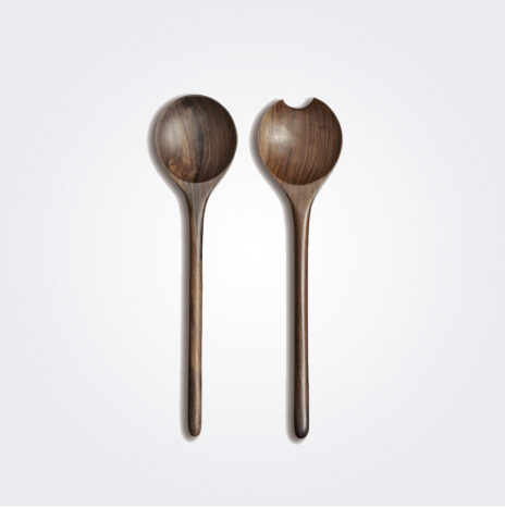 Dark Wooden Salad Serving Set II