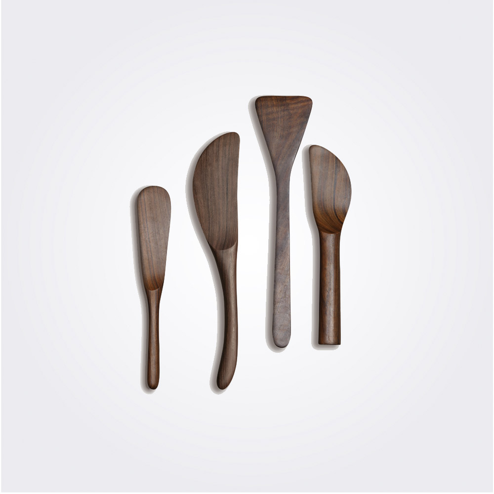Dark wood cheese spreaders set