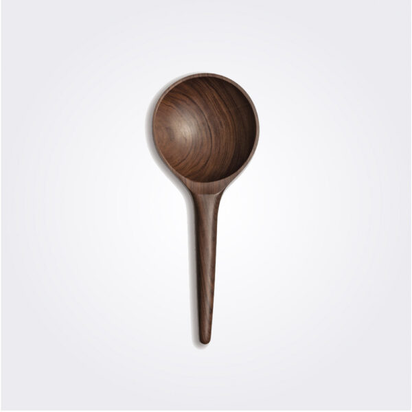 Dark wooden rice paddle product picture.
