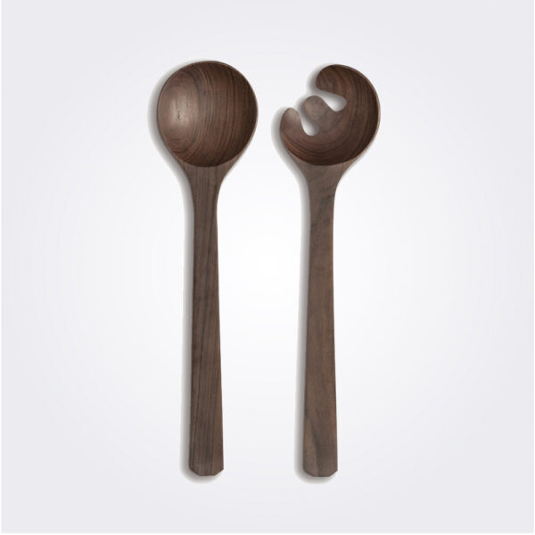 Dark wooden salad serving set product picture.