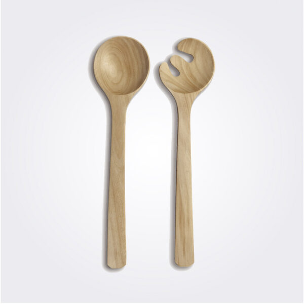 Light wood salad serving set product picture.