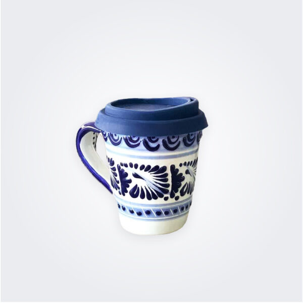 Blue Talavera pottery coffee mug product picture.