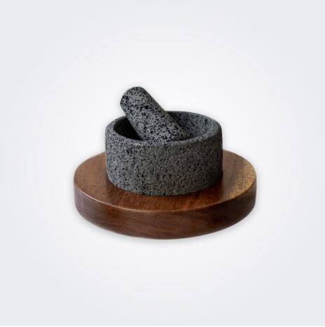 Mortar and Pestle With Wood Base