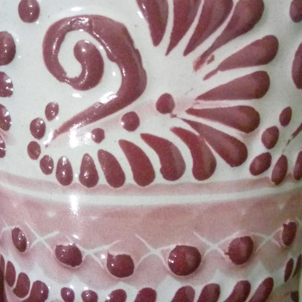 Pink talavera ceramic coffee mug with lid 2