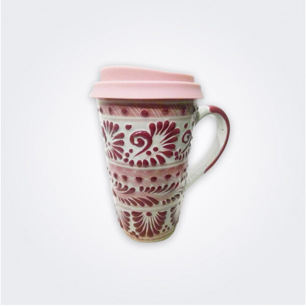 Pink talavera ceramic coffee mug with lid product picture.