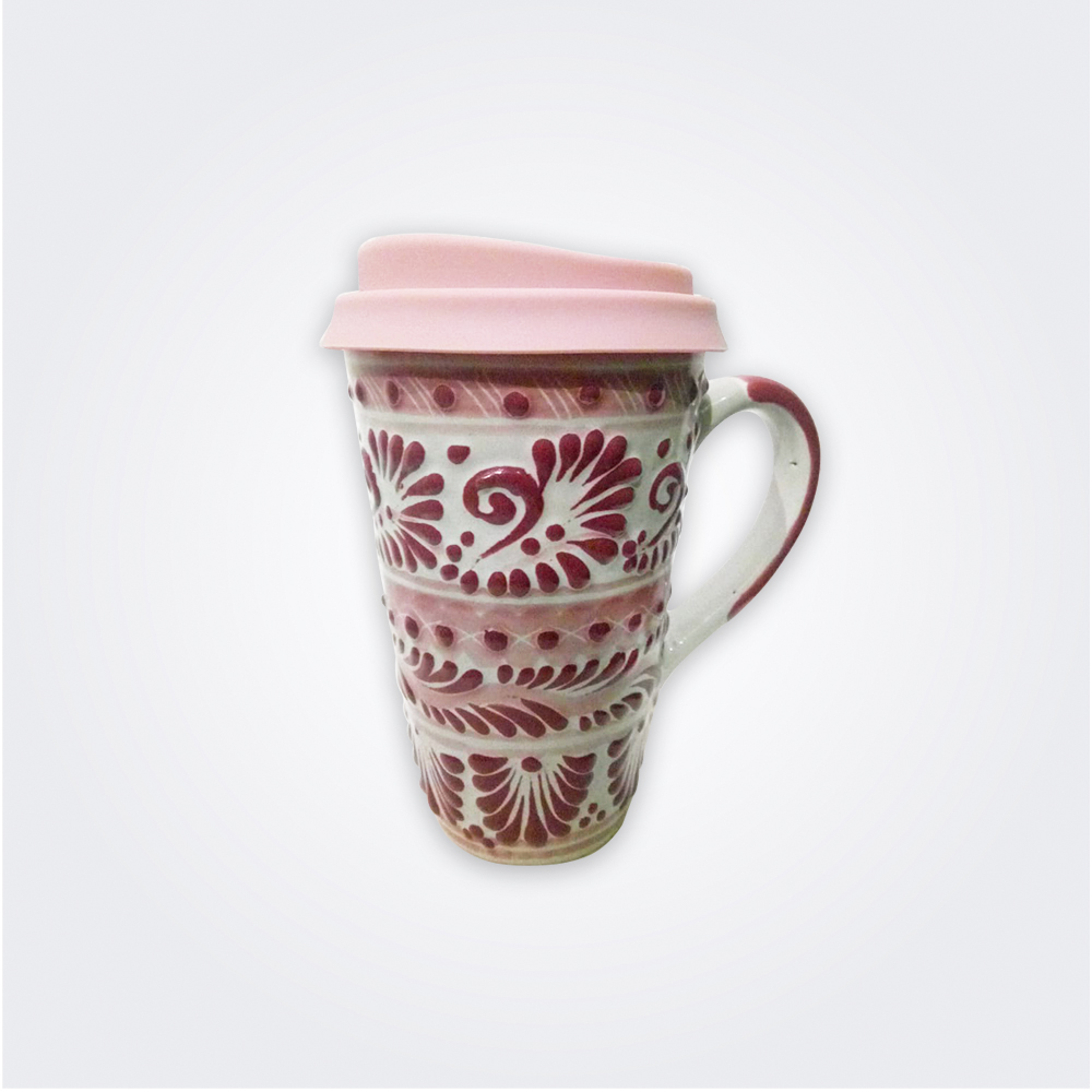 Pink-talavera-ceramic-coffee-mug-with-lid