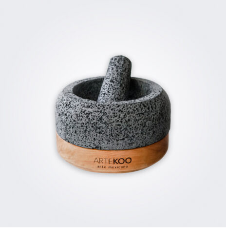 Round Molcajete With Wood Base