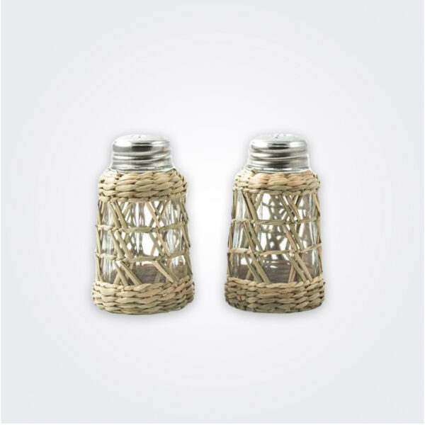 Seagrass cage salt and pepper set product picture.