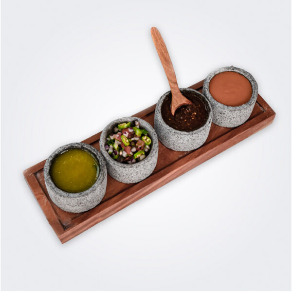 Volcanic stone dipping bowl set product picture.