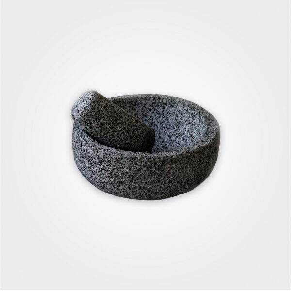 Volcanic stone mortar and pestle product picture.