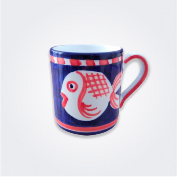 Blue fish ceramic mug product picture.