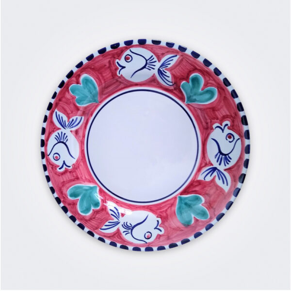 Blue fish ceramic pasta plate product picture.