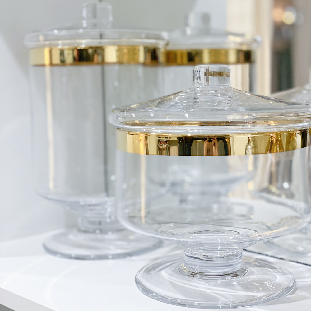 Clear-&-Gold-Glass-Container-Long-&-Short