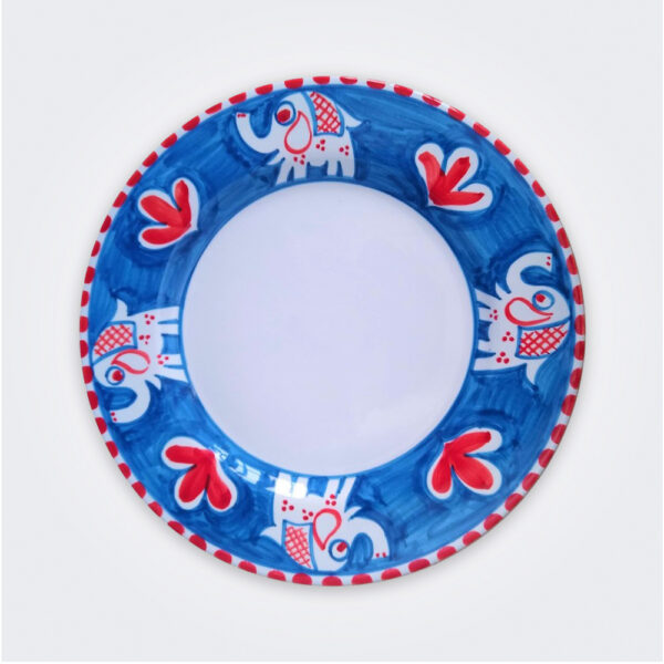 Elephant ceramic dinner plate product picture.