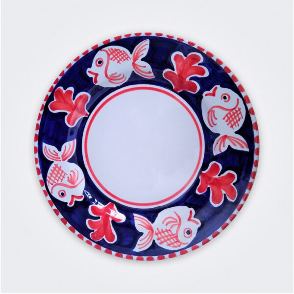 Fish ceramic dinner plate product picture.