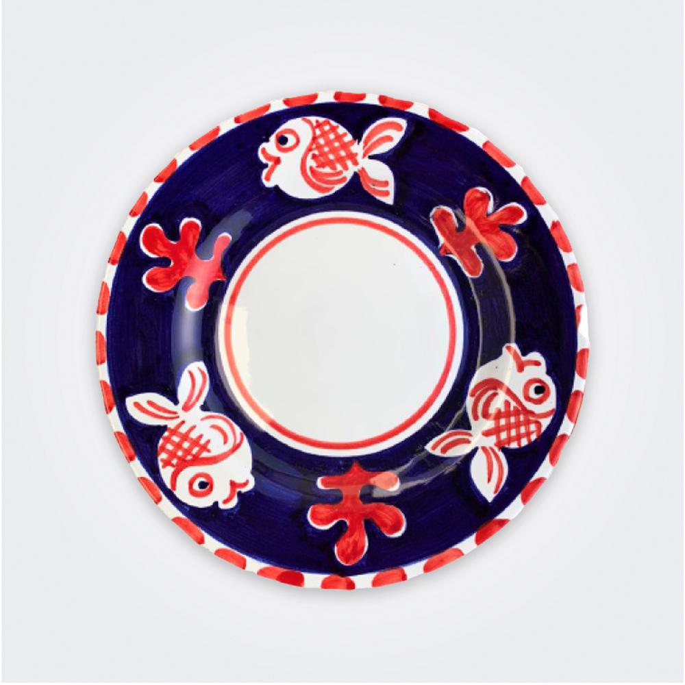 Red fish ceramic salad plate