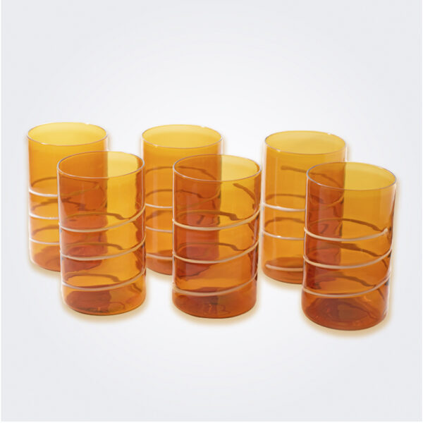Amber long drink tumbler set product picture.